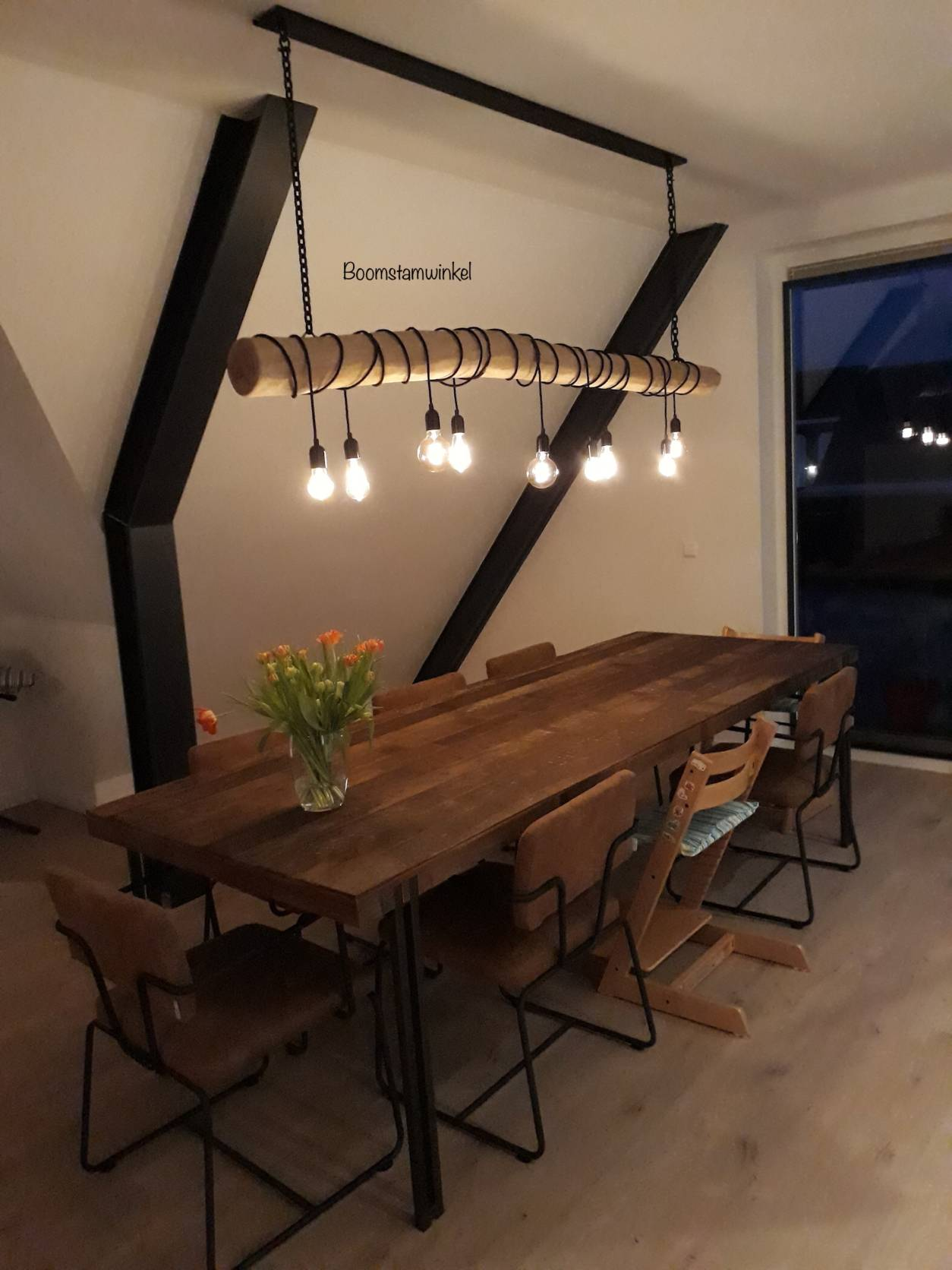 Hanglamp boomstam touw