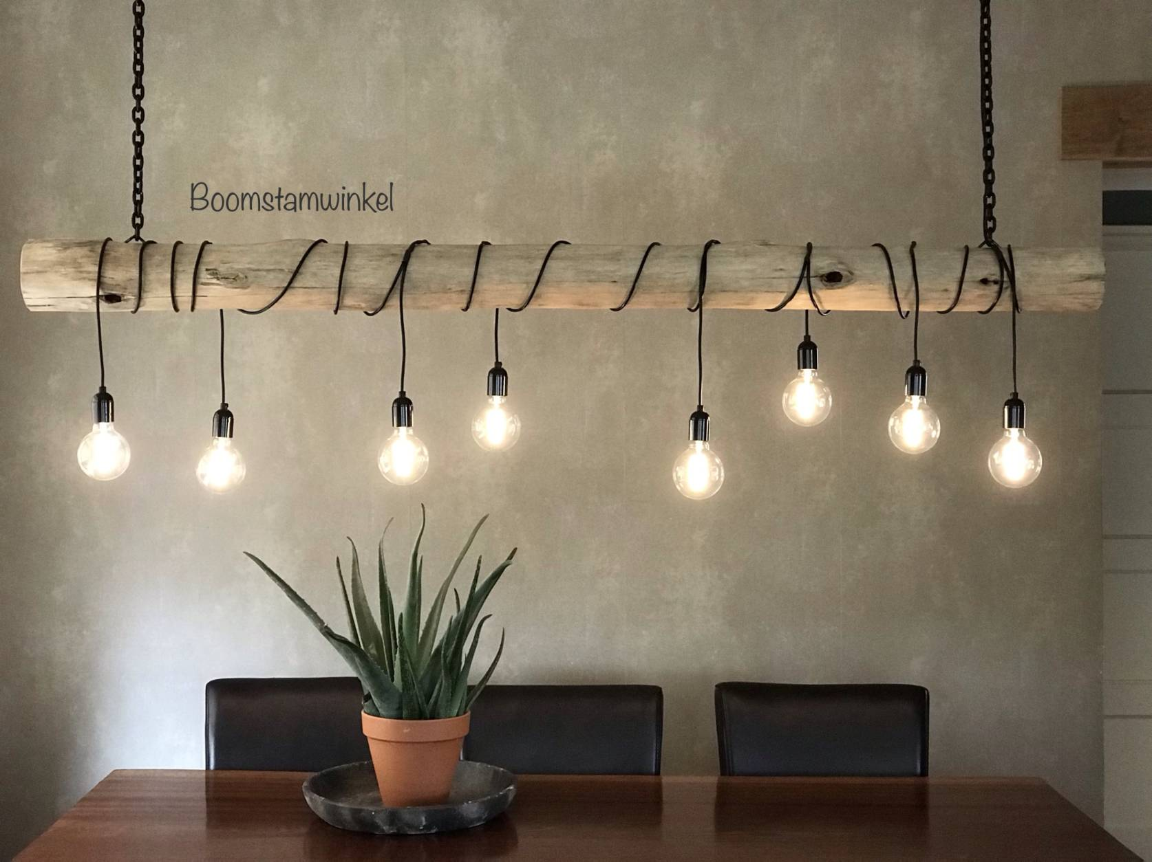 boomstam lamp kooldraad led lampen